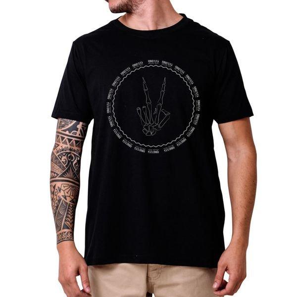 31233 camiseta eco tshirt estampada paz e amor esqueleto p