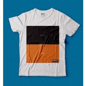 camiseta eco tshirt eat sleep life branco