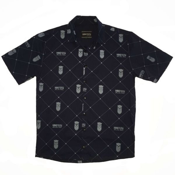 164004 camisa manga curta botao esmpampada caveira