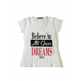 camiseta feminina believe dreams branco 1