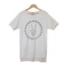 77322B  Camiseta Longline Oversize Paz e Amor Caveira Branco