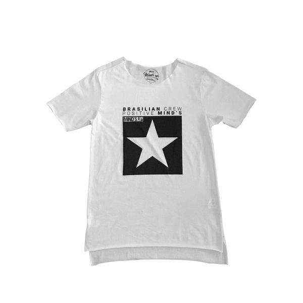 camiseta longline estrela branco